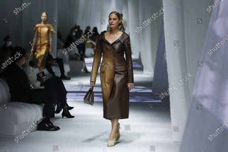 Model Yasmin Le Bon wears a creation as part of the Fendi 2021 women's spring-summer ready-to-wear collection during the Milan's fashion week in Milan, Italy