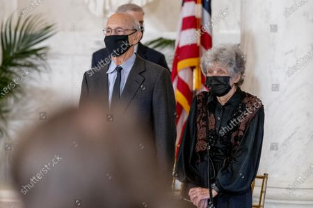 Justice Stephen Breyer and his wife Joanna stand during a private ceremony for Justice Ruth Bader Ginsburg at the Supreme Court in Washington,. Ginsburg, 87, died of cancer on Sept. 18.