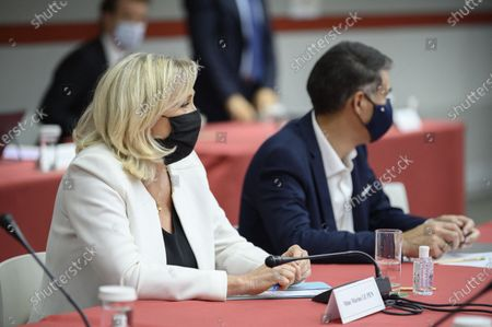 Stock Photo of Marine Le Pen and Olivier Faure during a meeting on the Covid-19 in the presence of the presidents of parliamentary groups and political parties
