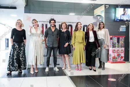 (L-R) Angela Finocchiaro Claudia Gerini, Mohamed Zouaoui, Director Giuliana Gamba, Caterina Guzzanti, Paola Minaccioni, Morena Gentile