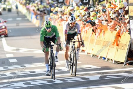 Sam BENNETT (IRL) in the points classification green jersey and Peter Sagan (SVK) pictured rushing for the line at the end of stage 19 of Tour de France cycling race, over 166,5 kilometers (103.4 miles) with start in Bourg-en-Bresse and finish in Champagnole