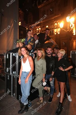 Stock Picture of Fauve Hautot, Gaumar,Charlotte Rosier, Barry Moore, Mico C, Jordan Mouillerac, Katrina Patchett, Christophe Licata pose on backstage during the BPI big tour at Hotel de Ville, Paris, France