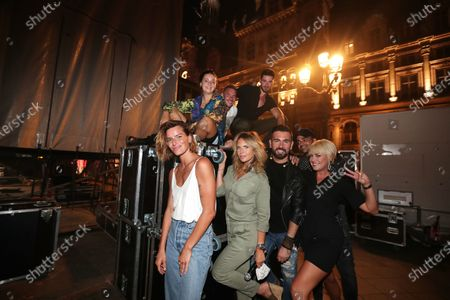 Fauve Hautot, Gaumar,Charlotte Rosier, Barry Moore, Mico C, Jordan Mouillerac, Katrina Patchett, Christophe Licata pose on backstage during the BPI big tour at Hotel de Ville, Paris, France
