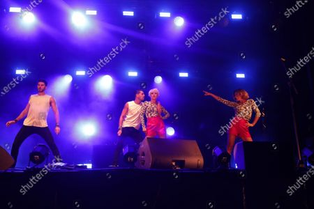 Stock Photo of Jordan Mouillerac; Christophe Licata, Katrina Patchett, Fauve Hautot perform on stage during the BPI big tour at Hotel de Ville, Paris, France