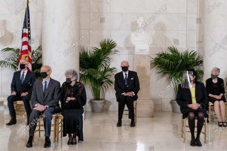 From left, Justice Neil Gorsuch, Justice Stephen Breyer and his wife Joanna, Retired Justice Anthony Kennedy, Justice Sonia Sotomayor, and Maureen Scalia, the wife of the late Justice Antonin Scalia, attend a private ceremony for Justice Ruth Bader Ginsburg at the Supreme Court in Washington, DC, USA, 23 September 2020. Ginsburg, 87, died of cancer on 18 Setpember.