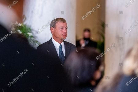 Chief Justice of the United States John Roberts reacts after speaking during a private ceremony for Justice Ruth Bader Ginsburg at the Supreme Court in Washington, DC, USA, 23 September 2020. Ginsburg, 87, died of cancer on 18 Setpember.