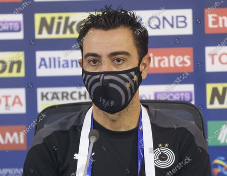 Xavi Hernandez, head coach of Al Sadd, attends a press conference ahead of AFC Champions League Grounp D match between Al Sadd of Qatar and Sepahan FC of Iran in Doha, capital of Qatar, Sept. 23, 2020.