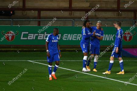 Alex Iwobi of Everton celebrates scoring his sides third goal