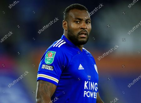 The Carabao Cup arm patch on the sleeve of the shirt worn by Wes Morgan of Leicester City