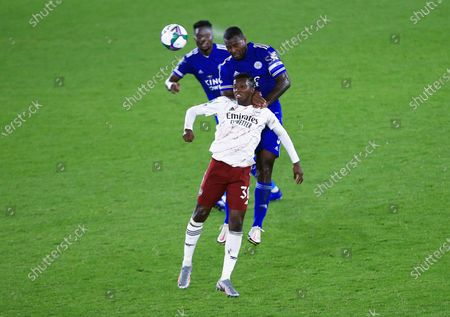 Stock Image of Eddie Nketiah of Arsenal and Wes Morgan of Leicester City