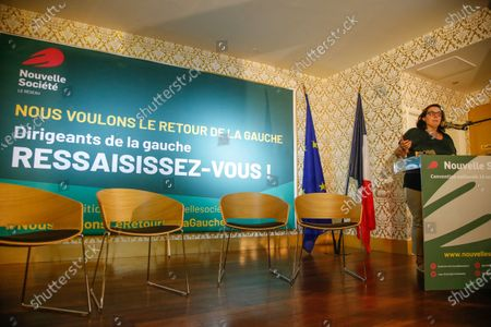"""Stock Photo of French former Housing Minister Emmanuelle Cosse delivers a speech during the National Convention of the French Assotiation """"Nouvelle Societe"""" in Paris"""