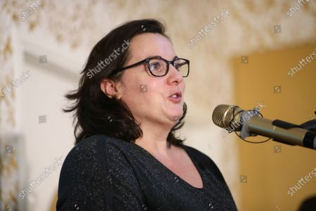 """Stock Image of French former Housing Minister Emmanuelle Cosse delivers a speech during the National Convention of the French Assotiation """"Nouvelle Societe"""" in Paris"""