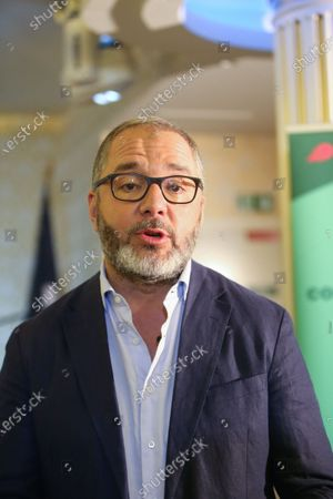 """French former Senator Rachid Temal speaks during the National Convention of the French Assotiation """"Nouvelle Societe"""" in Paris"""