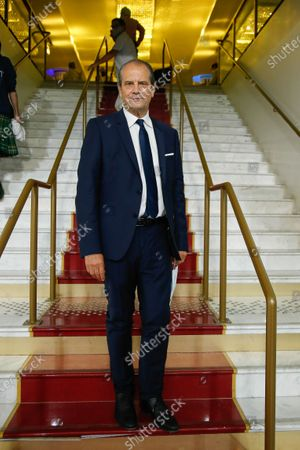 """French left-wing Socialist Party (Parti Socialiste) former first secretary Jean-Christophe Cambadelis, President of French Association """"Nouvelle Societe"""", poses during their first National Convention in Paris"""