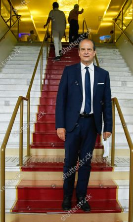 """Stock Picture of French left-wing Socialist Party (Parti Socialiste) former first secretary Jean-Christophe Cambadelis, President of French Association """"Nouvelle Societe"""", poses during their first National Convention in Paris"""