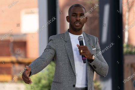 Player Chris Paul speaks before Democratic presidential candidate former Vice President Joe Biden arrives for a Biden for President Black economic summit at Camp North End in Charlotte, N.C