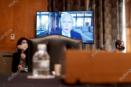 Senate Homeland Security and Governmental Affairs Committee Chairman Ron Johnson (R-Wis.) makes his opening statement during a confirmation hearing of Chad Wolf to be Secretary of Homeland Security on Wednesday, September 23, 2020. Johnson is quarantining due to possible exposure to coronavirus.