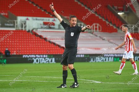 David Webb Referee during the EFL Cup match between Stoke City and Gillingham at the Bet365 Stadium, Stoke-on-Trent