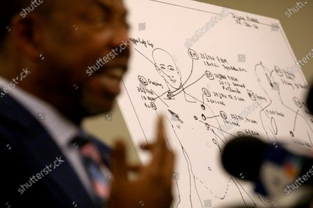 "LOS ANGELES, CA - SEPTEMBER 22, 2020 - - Attorney Carl Douglas talks about the case of Dijon Kizzee, at a news conference to respond to the information released by the Los Angeles County Sheriff's Department last week about the Aug. 31 fatal shooting of Kizzee in Los Angeles on September 22, 2020. Douglas stands next to their illustration of where and how many times Kizzee was shot. The family's attorney's discussed how the evidence ""differs from the results of their independent investigation."" After initially saying Dijon Kizzee had ""made a motion"" towards a gun he had dropped on the ground, the L.A. County Sheriff's Department last week said he had picked up the gun when two deputies shot and killed him on Aug. 31. The attorney and family are disputing the Sheriff's Department's account. (Genaro Molina / Los Angeles Times)"