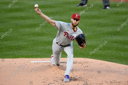 Philadelphia Phillies starting pitcher Zack Wheeler delivers a pitch during a baseball game against the Washington Nationals, in Washington