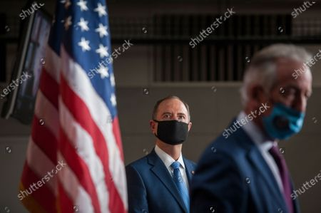Stock Picture of United States Representative Adam Schiff (Democrat of California), left, and US Representative Richard Neal (Democrat of Massachusetts), right, join in a press conference on reforms package at the US Capitol in Washington, DC., Wednesday, September 23, 2020.