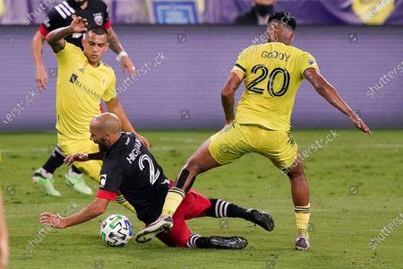United midfielder Federico Higuain (2) falls as he works against Nashville SC midfielder Anibal Godoy (20) during the second half of an MLS soccer match, in Nashville, Tenn. Nashville won 1-0