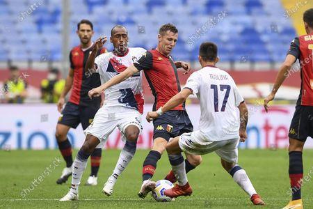 "Stock Photo of Lukas Reiff Lerager (Genoa) Eduardo Henrique (Crotone)           during the Italian "" Serie A"" match between  Genoa 4-1 Crotone  at  Luigi Ferraris Stadium  on September 20 , 2020 in Genova, Italy."