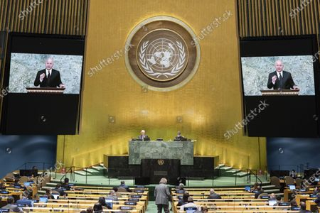 Iraqi President Barham Salih (on the screens) addresses the General Debate of the 75th session of the UN General Assembly at the UN headquarters in New York, on Sept. 23, 2020. The General Debate of the 75th session of the UN General Assembly entered the second day on Wednesday.