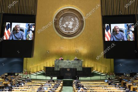 Liberian President George Weah (on the screens) addresses the General Debate of the 75th session of the UN General Assembly at the UN headquarters in New York, on Sept. 23, 2020. The General Debate of the 75th session of the UN General Assembly entered the second day on Wednesday.
