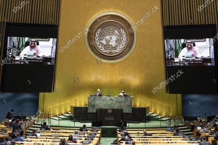 Saudi Arabia's King Salman bin Abdulaziz Al Saud (on the screens) addresses the General Debate of the 75th session of the UN General Assembly at the UN headquarters in New York, on Sept. 23, 2020. The General Debate of the 75th session of the UN General Assembly entered the second day on Wednesday.