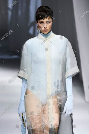 Stock Photo of Edie Campbell on the catwalk