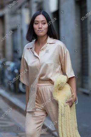 Editorial image of Street Style, Spring Summer 2021, Milan Fashion Week, Italy - 23 Sep 2020