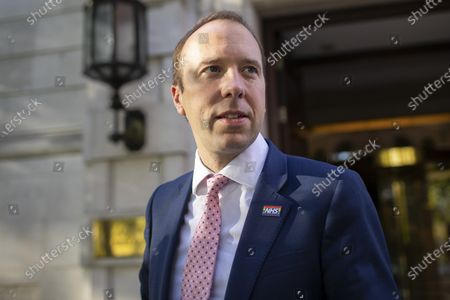 Secretary of State for Health and Social Care Matt Hancock departs television studios near Parliament after appearing on Kay Burley at Breakfast . Later today the Chancellor of the Exchequer Rishi Sunak will present his Winter Economy Plan to Palriament.