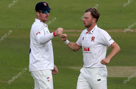 Stock Photo of Sam Cook (right) celebrates taking the wicket of Steve Davies with Simon Harmer (left) during Somerset CCC vs Essex CCC, Bob Willis Trophy Final Cricket at Lord's Cricket Ground on 24th September 2020