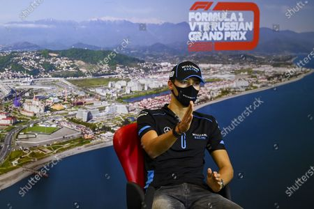 Williams driver George Russell of Britain speaks during a media conference prior to the Russian Formula One Grand Prix, at the Sochi Autodrom circuit, in Sochi, Russia, . The Russian Formula One Grand Prix will take place on Sunday, Sept. 27, 2020