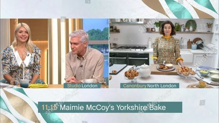 Stockfoto van Holly Willoughby, Phillip Schofield, Maimie McCoy