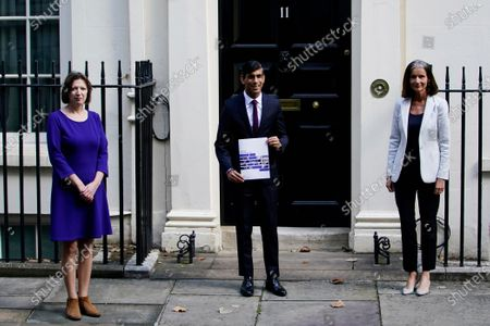 Stock Picture of Britain's Chancellor of the Exchequer Rishi Sunak (C) and Dame Carolyn Julie Fairbairn, Director General of the CBI (R) and Frances O'Grady, General Secretary of the TUC, (L) stand outside 11 Downing Street, London, Britain, 24 September 2020. Sunak is due to address the House of Commons to outline a 'Winter Economy Plan' which has been created in response to the COVID-19 pandemic.