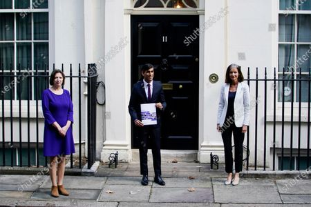 Britain's Chancellor of the Exchequer Rishi Sunak (C) and Dame Carolyn Julie Fairbairn, Director General of the CBI (R) and Frances O'Grady, General Secretary of the British Trades Union Congress TUC (L) stand outside 11 Downing Street, London, Britain, 24 September 2020. Mr Sunak is due to address the House of Commons to outline a 'Winter Economy Plan' which has been created in response to the COVID-19 pandemic.