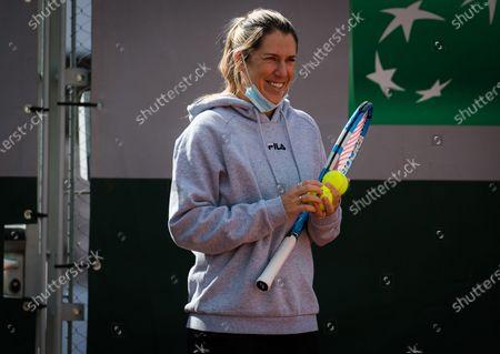 Olga Savchuk during practice before the start of the 2020 Roland Garros Grand Slam tennis tournament