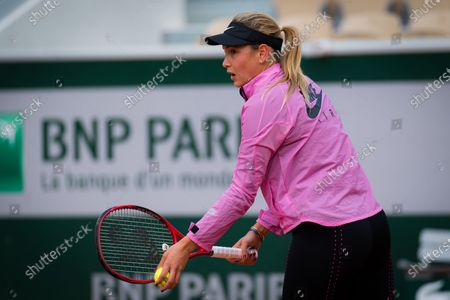 Donna Vekic of Croatia during practice before the start of the 2020 Roland Garros Grand Slam tennis tournament
