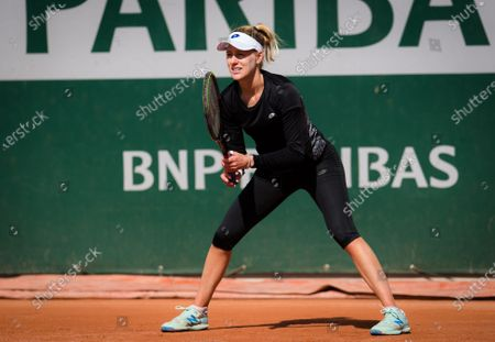 Alison Riske of the United States during practice before the start of the 2020 Roland Garros Grand Slam tennis tournament