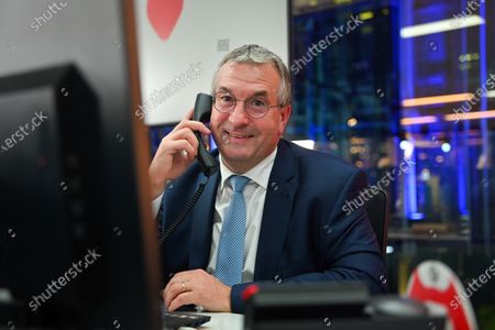 Minister Pierre Yves Jeholet during the 32nd edition of Télévie, a large solidarity movement, started in 1989 and organised by RTL Belgium, to raise funds for R.S - FNRS. Télévie helps raise money to fund research into cancer and leukemia in children and adults.