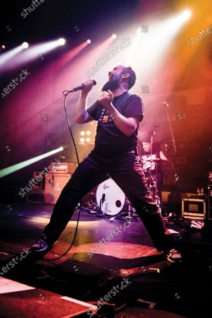Vocalist Neil Fallon of American hard rock group Clutch performing live on stage at The Roundhouse in London