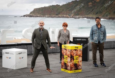 Stock Picture of Javier Camara, producer Marta Esteban Roca and film director Cesc Gay attend a photocall their movie 'Sentimental' at the 68th annual San Sebastian International Film Festival (SSIFF), in San Sebastian, Spain, 24 September 2020. The film festival runs from 18 to 26 September 2020 under safety measures like obligatory face mask use and red carpets without public due to the Covid-19 coronavirus pandemic. Organizers have also reduced the number of film screenings as well as the seating capacity in cinemas.
