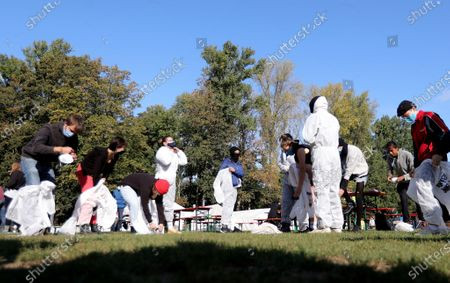 Stock Image of Climate activists prepare an action training at a camp of the 'Ende Gelaende' protest initiative in the Rhenish coal mining area in Erkelenz, Germany, 24 September 2020. Several thousand demonstrators are expected to participate in the 'Ende Gelaende' movement's protest event aimed at RWE's Tagebau Garzweiler open-pit coal mine from 25 to 27 September 2020. Other environmental movements like 'Fridays for Future,' 'All villages stay!,' and the 'Anti-Coal Kids' support the protest.