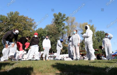 Climate activists prepare an action training at a camp of the 'Ende Gelaende' protest initiative in the Rhenish coal mining area in Erkelenz, Germany, 24 September 2020. Several thousand demonstrators are expected to participate in the 'Ende Gelaende' movement's protest event aimed at RWE's Tagebau Garzweiler open-pit coal mine from 25 to 27 September 2020. Other environmental movements like 'Fridays for Future,' 'All villages stay!,' and the 'Anti-Coal Kids' support the protest.
