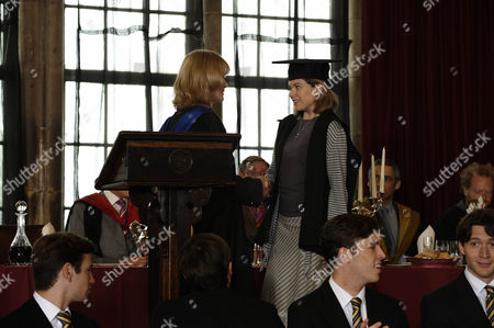 Picture shows: The Warden Dr Angela [Claire Skinner] and Charlotte Arc [Antonia Bernath]