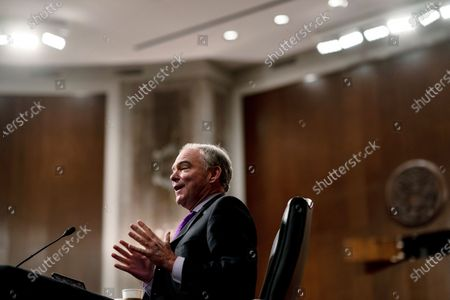 Sen. Tim Kaine, D-Va., speaks during a Senate Committee on Foreign Relations hearing on US Policy in the Middle East, on Capitol Hill in Washington