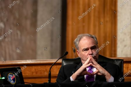 Sen. Tim Kaine, D-Va., listens during a Senate Committee on Foreign Relations hearing on US Policy in the Middle East, on Capitol Hill in Washington