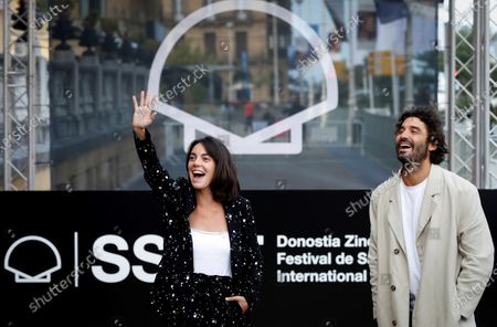 Vicky Luengo (L) and Alex Garcia arrive at the guest's hotel of the 68th annual San Sebastian International Film Festival (SSIFF), in San Sebastian, Spain, 24 September 2020. The film festival runs from 18 to 26 September 2020 under safety measures like obligatory face mask use and red carpets without public due to the Covid-19 coronavirus pandemic. Organizers have also reduced the number of film screenings as well as the seating capacity in cinemas.